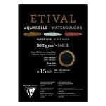 Bloc papier aquarelle Etival Noir grain fin et torchon 300 g/m² - 14,8 x 21 cm (A5)