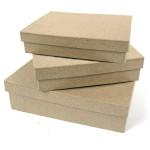 3 boîtes carrées en papier mâché
