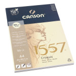 Canson 1557 grain léger 120g/m², bloc collé petit côté A4 - 21 x 29,7 cm