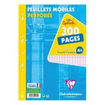 Feuillets mobiles perforés A4 Grand carreaux 300 pages