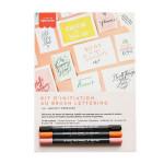 Kit d'initiation au Brush lettering Rose Orange Noir