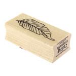 Tampon bois Feuille lignée - 3 x 6 cm